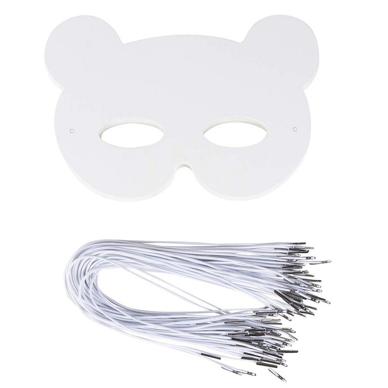 DIY Mask - 48-Pack Blank Masquerade Mask for Halloween Costume Party, Bear Design, 250 GSM, 8.25 x 7.5 Inches
