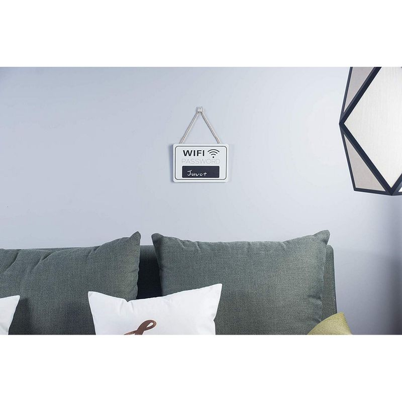 Juvale WiFi Password Sign - 2-Pack WiFi Password Hanging Board, Wall-Mount Wooden WiFi Sign for Home and Business, 7.9 x 5.6 x 0.27 Inches