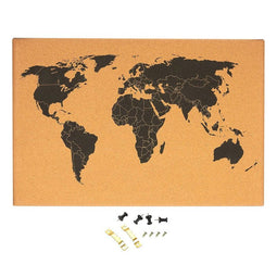Cork Board Map of The World - Wall Mount Bulletin Board with Pins, 23.5 x 15.75""