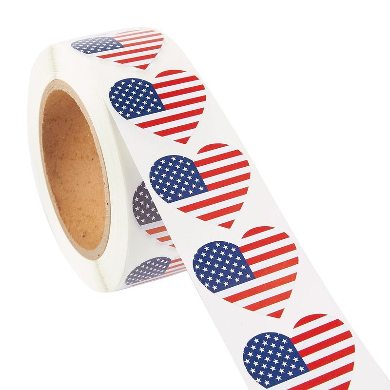 USA American Flag Heart Sticker Roll (1.7 x 1.5 in, 1000 Count)