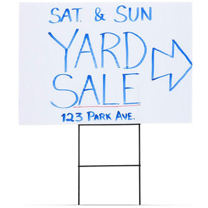 Juvale 6-Pack Blank Corrugated Plastic Yard Lawn Signs with Stakes, 12 x 17 Inches
