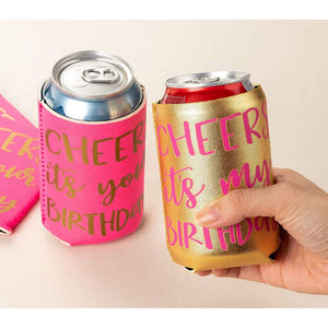 Women's Birthday Beer Sleeves – 12-Pack Girls Night Out Party Can Covers – Party Supply for Women's Birthday Parties, 12-Ounce Neoprene Coolers for Soda, Beer, Can Beverage, 11 in Pink and 1 in Gold