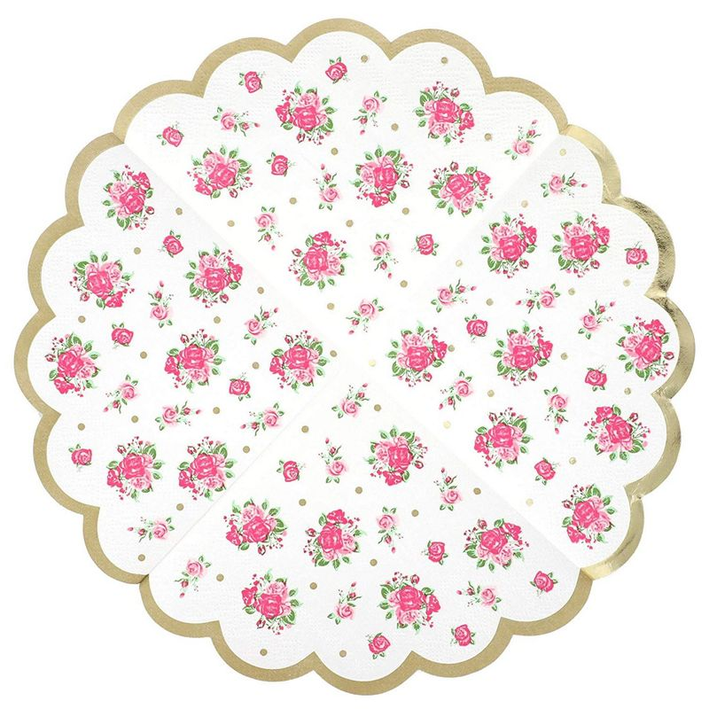 Juvale Vintage Floral Paper Party Napkins, Scalloped Edge, 3 Ply (50 Pack)