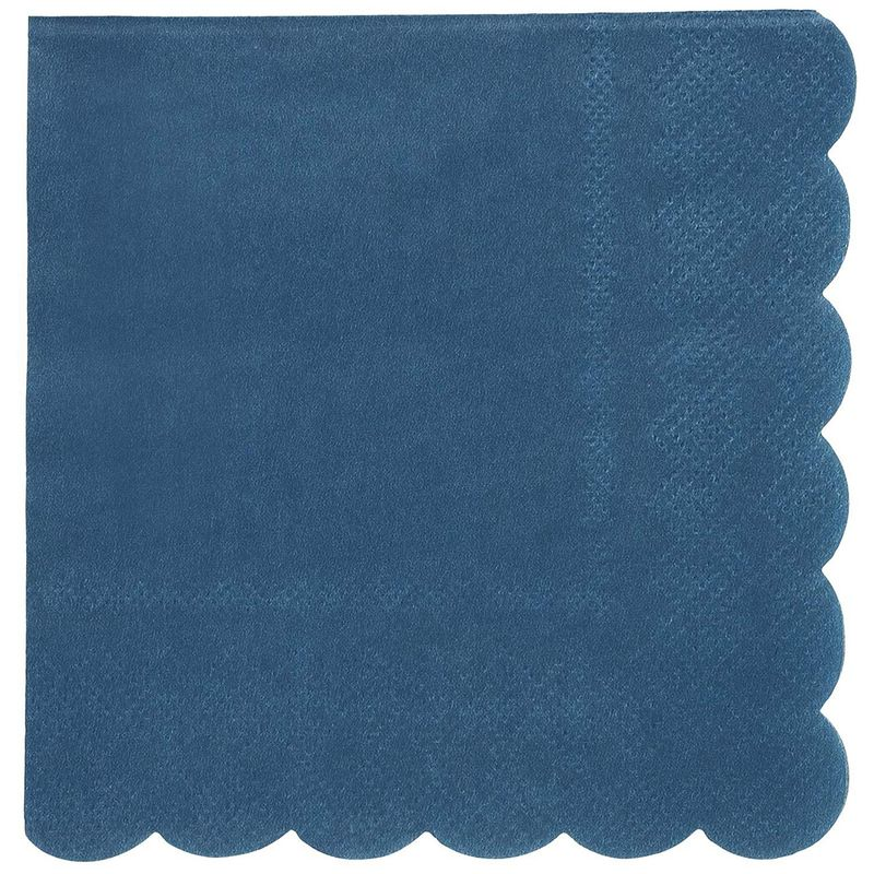 Juvale 100-Pack Bulk 2-Ply Scalloped Paper Cocktail Napkins, Dark Blue, 5 x 5 Inches