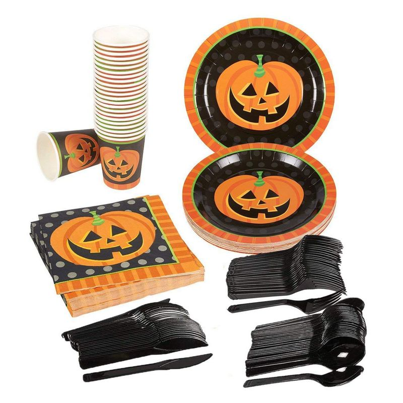 Pumpkin Halloween Party Supplies – Serves 24 – Includes Plates, Knives, Spoons, Forks, Cups and Napkins. Perfect Halloween Party Pack for Spooky Halloween Themed Parties.