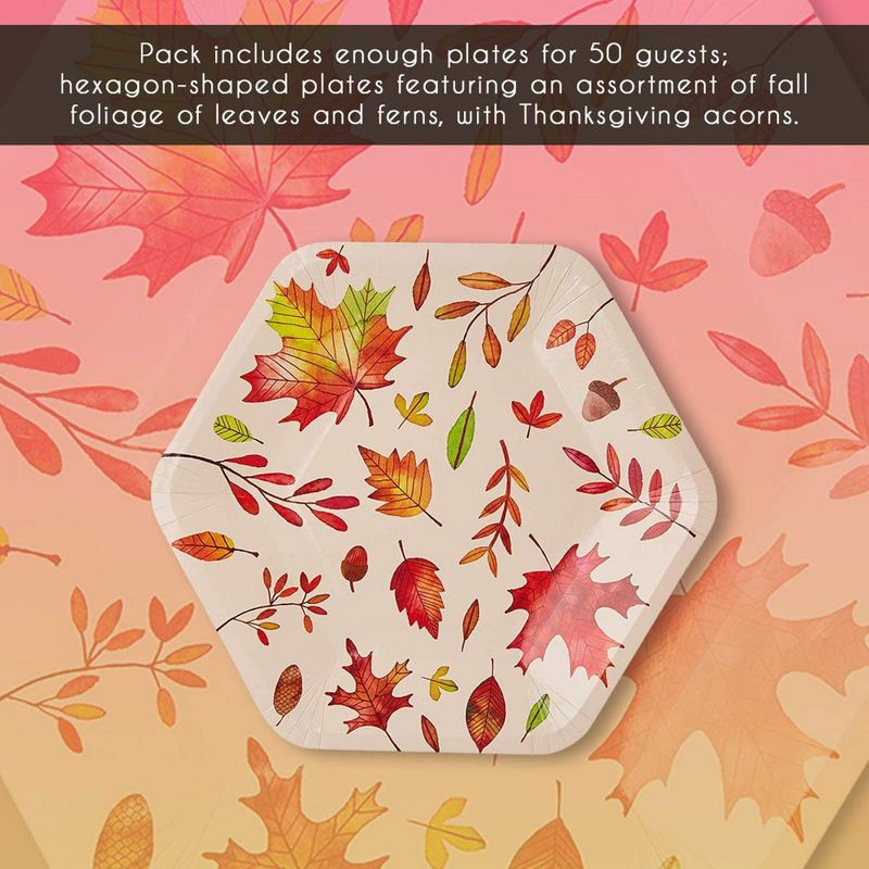 Disposable Plates - 50-Count Thanksgiving Party Paper Plates, Fall Themed Celebrations, Autumn Leaves Hexagon Design, Beige, 9 x 8 Inches