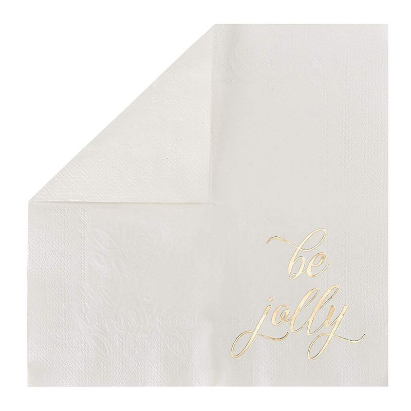 Cocktail Napkins - 102-Pack Disposable Paper Napkins, Christmas Holidays Dinner Party Supplies, 3-Ply, 3 Assorted Text in Gold Foil Design, Unfolded 10 x 10 Inches, Folded 5 x 5 Inches