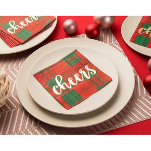 Cocktail Napkins - 50-Pack Disposable Paper Napkins, Christmas Holidays Dinner Party Supplies, 3-Ply, Red and Green Plaid with Gold Foil Design, Unfolded 10 x 10 Inches, Folded 5 x 5 Inches
