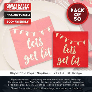 Cocktail Napkins - 50-Pack Disposable Paper Napkins, Christmas Holidays Dinner Party Supplies, 3-Ply, Let's Get Lit Design, Red and Gold Foil, Unfolded 10 x 10 Inches, Folded 5 x 5 Inches