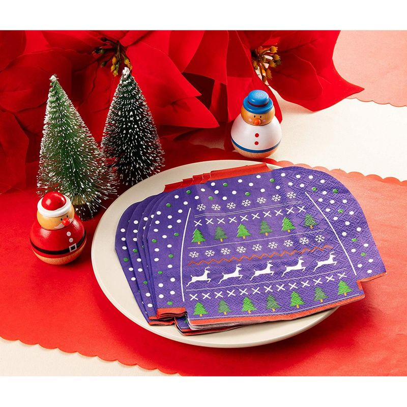 Cocktail Napkins - 50-Pack Disposable Paper Napkins, Christmas Holidays Dinner Party Supplies, 3-Ply, Ugly Christmas Sweater Die-Cut Shaped Design, Blue, Folded 6.5 x 6.3 Inches