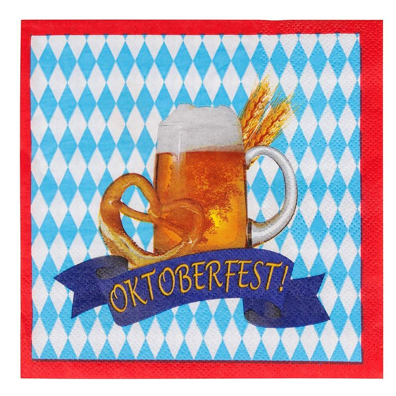 Cocktail Napkins - 100-Pack Disposable Paper Napkins, Oktoberfest Party Supplies, 2-Ply, Beer Pretzel Banner Design, Blue White and Red, Unfolded 13 x 13 Inches, Folded 6.5 x 6.5 Inches