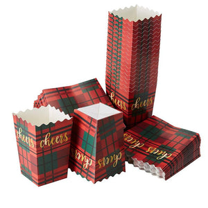 Cheers Plaid Popcorn Boxes for Holiday Parties and Movies (3.3 x 5.5 in, 100 Pack)