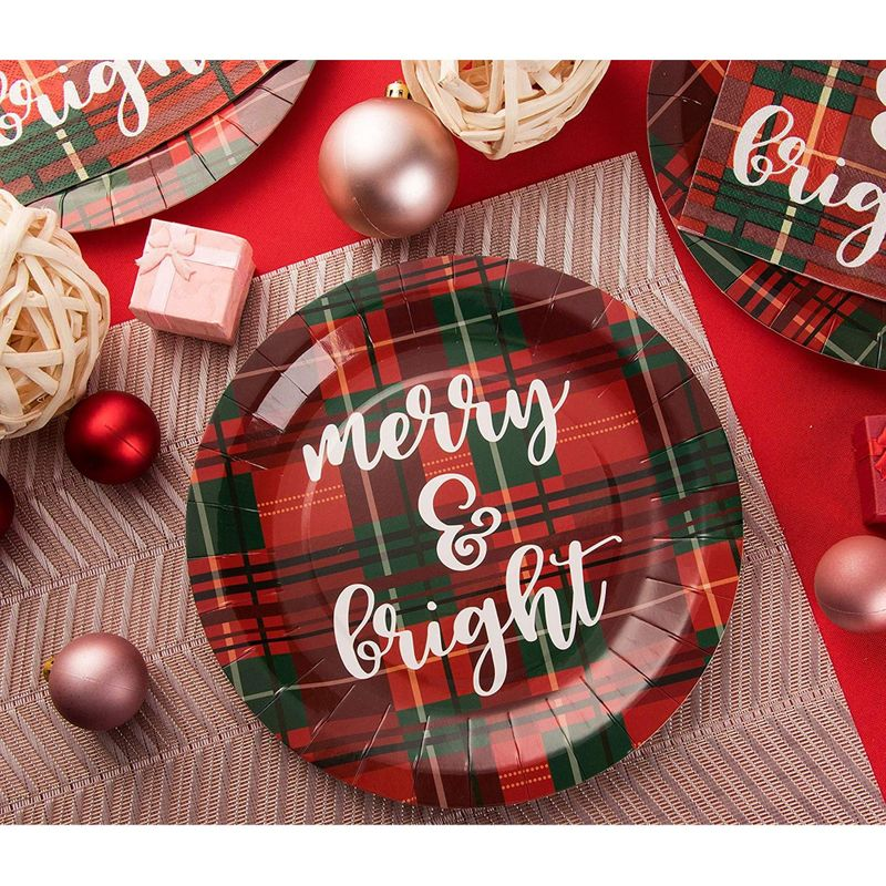 Disposable Plates - 80-Count Paper Plates, Christmas Holiday Party Supplies for Appetizer, Lunch, Dinner, Dessert, Red and Green Plaid Design, 9 Inches Diameter