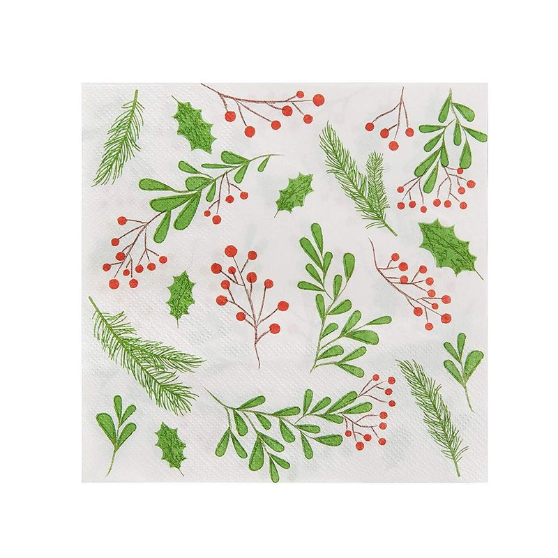 Cocktail Napkins - 100-Pack Disposable Paper Napkins, Christmas Holidays Dinner Party Supplies, 2-Ply, Holly Berry and Leaves Design, Unfolded 13 x 13 Inches, Folded 6.5 x 6.5 Inches