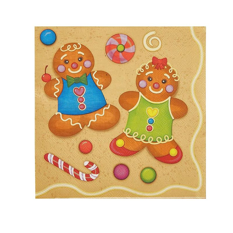 Cocktail Napkins - 100-Pack Disposable Paper Napkins, Christmas Holidays Dinner Party Supplies, 2-Ply, Cute Boy and Girl Gingerbread Cookie Design, Unfolded 13 x 13 Inches, Folded 6.5 x 6.5 Inches
