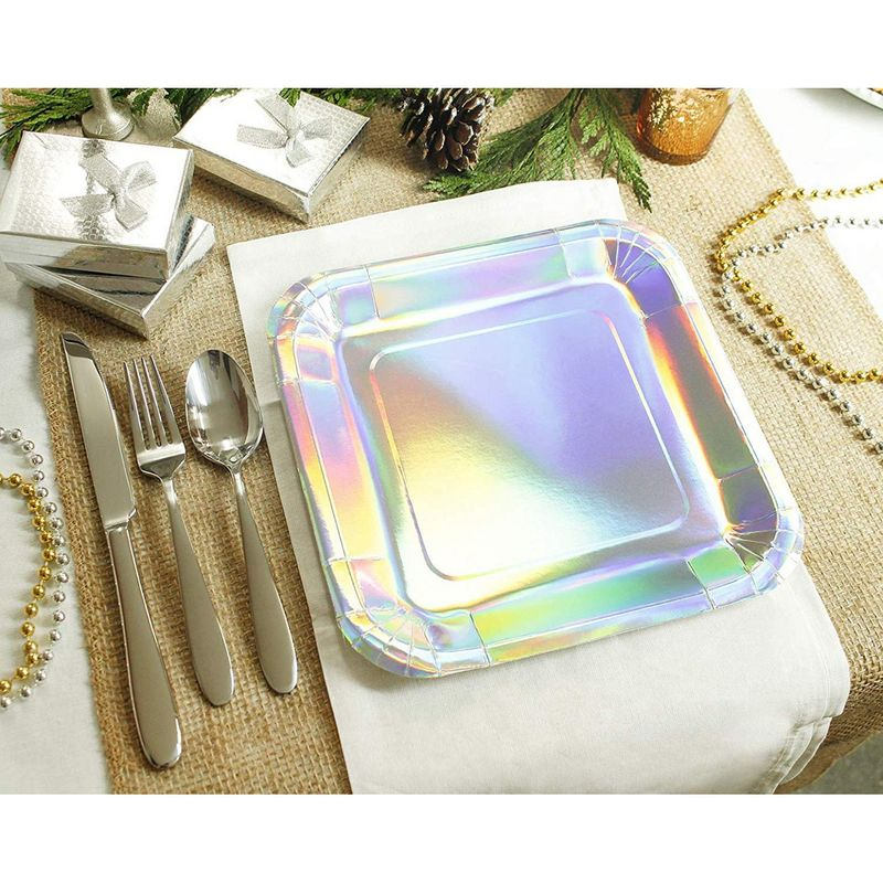 Silver Paper Plates - 48-Pack Disposable 9-Inch Square Plates for Cake, Appetizer, Dessert, Lunch, Metallic Silver Holographic Foil, Birthday Party Supplies