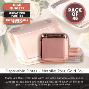 Disposable Plates - 48-Pack Square Paper Plates Party Supplies for Appetizer, Lunch, Dinner, and Dessert, Birthday Party, Metallic Rose Gold Foil, 7 x 7 Inches