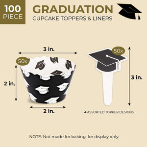 Juvale 100 Piece Set Graduation Party Supplies, Cupcake Wrappers and Toppers, 3 Inches