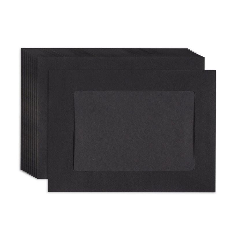 Juvale Paper Picture Frames - 50-Pack DIY Black Paper Photo Mats Photo Frame Picture Holder - Ideal for Inserting and Sending Memorable Documents, DIY Wall Decorations, Holds 4 x 6 Inches Inserts