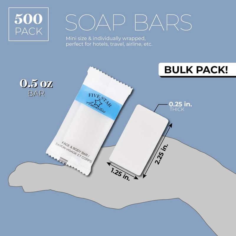 Juvale 500-Pack Bulk Travel Size Individually Wrapped Hotel Bar Soap, 0.5 Ounces