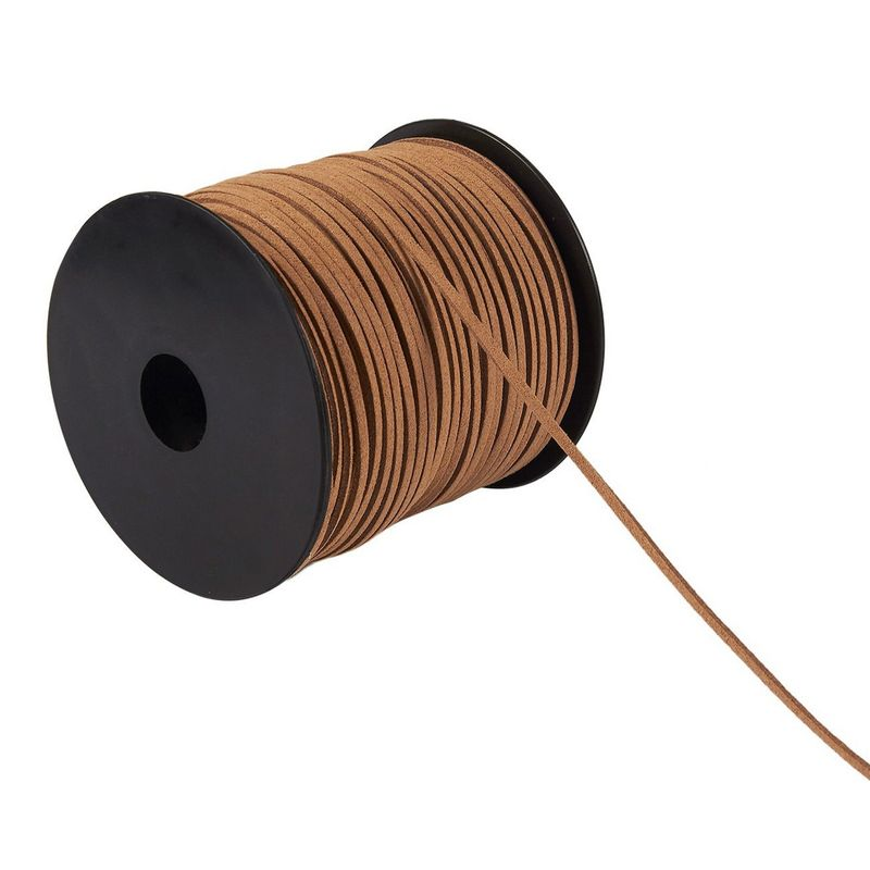 Faux Leather Cord - 100-Yard Suede Leather Strap Beading Cord, Flat Leather Lace Spool, Caramel, 0.08 Inches Wide