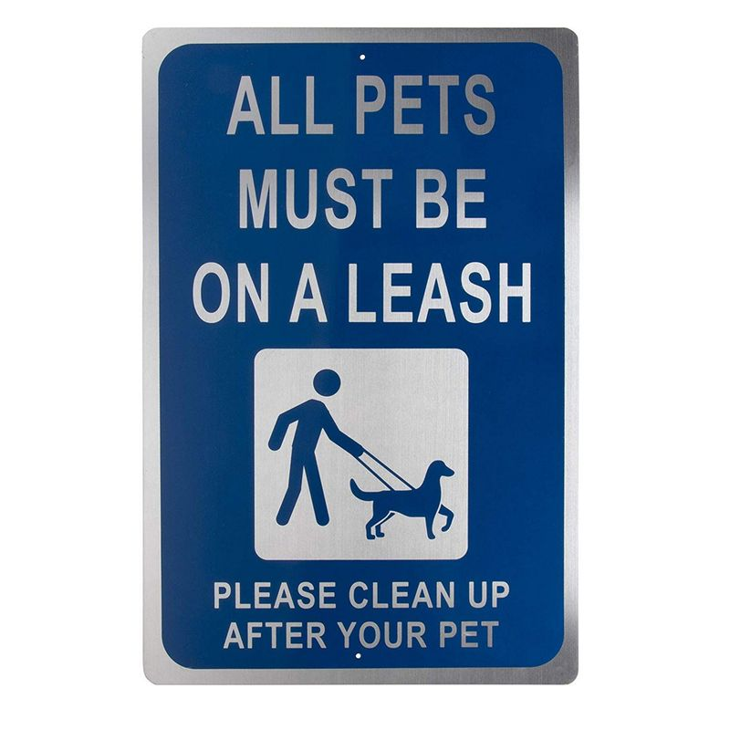 Dog Leash Sign - All Pets Must Be on Leash and Clean Up After Your Pet Warning, Indoor Outdoor Public Signage, Rust Free Aluminum, White on Blue, 18 x 12 Inches