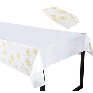 Christmas Snowflake Plastic Tablecloth, Holiday Design (White, Gold, 4.5 x 9 Ft, 3 Pack)