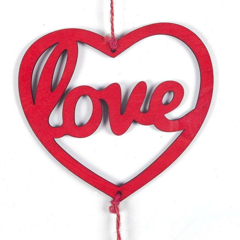 Juvale Heart Ornament Hanging Decoration, Cute Wooden Valentine's Day Decor, Romantic Heart-Shaped Cutouts for Living Room, Bedroom, Anniversary Display, 7.9 x 31.7 x 0.1 Inches