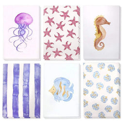 "48 Pack All Occasion Greeting Card Bulk Box Set - Watercolor Sea Design 4""x6"""