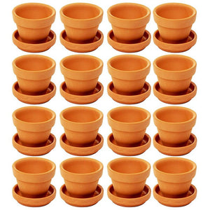 Juvale Small Terra Cotta Pots with Saucer- 16-Pack Clay Flower Pots with Saucers