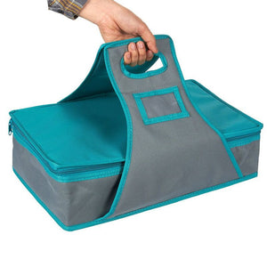 Rectangle Insulated Thermal Food & Casserole Carrier for Picnic, Teal & Grey