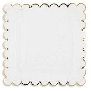 Juvale Blue Panda 48-Count White Party Paper Plates with Scalloped Gold Foil Edge, 9 Inches
