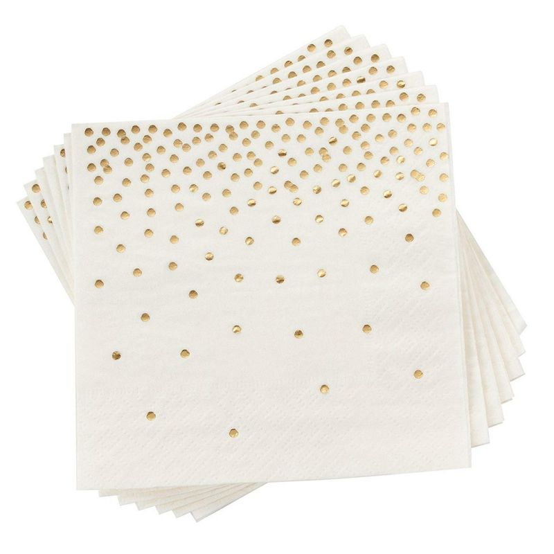 Polka Dot Party Supplies, White Paper Napkins (5 x 5 In, Gold Confetti Foil, 100 Pack)