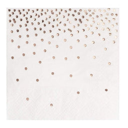 100 Pack of Cocktail Napkins with Rose Gold Foil Polka Dot Confetti (5 x 5 In)