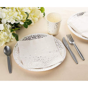 Disposable Dinnerware Set - Serves 24 - Party Supplies, Silver Foil Polka Dot Design, Includes Plastic Knives, Spoons, Forks, Paper Plates, Napkins, Cups, Birthday, Bridal Shower Party Supplies