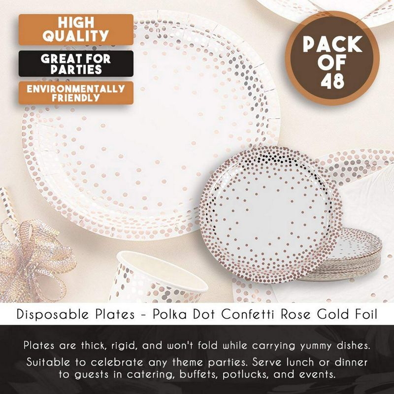 Rose Gold Disposable Plates - 48-Pack Metallic Rose Gold Foil Polka Dot Paper Party Plates, 9-Inch Round Lunch Plates, Dessert, Appetizer, For Wedding, Bridal Shower, Birthday Party Supplies