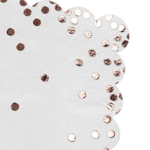 Rose Gold Napkins - 50-Pack Disposable Napkins with Rose Gold Foil Polka Dot Confetti and Scalloped Edges, 3-Ply, Wedding Party Supplies, Luncheon Size Folded 6.5 x 6.5 Inches