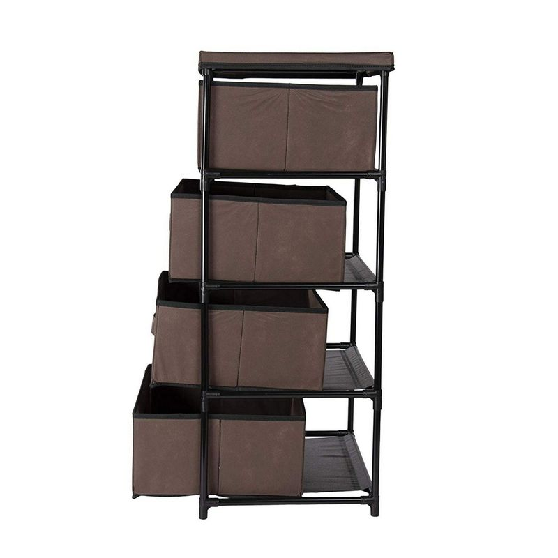 Juvale 4-Layered Storage Bin Cabinet Drawer for Clothing, Underwear, Documents, Household Objects - Dark Brown, 16.5 x 13 x 33 inches