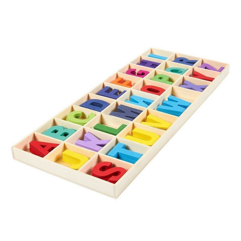 Wooden Letters - 130 Pieces Assorted Colored Wodden Craft Letters with Storage Tray Set for Home Decoration and Kids Learning Toys