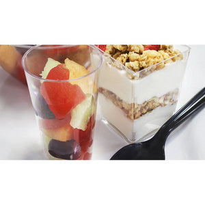 Plastic Shot Glass and Square Dessert Cups for Parties (3 Oz, 5 Oz)
