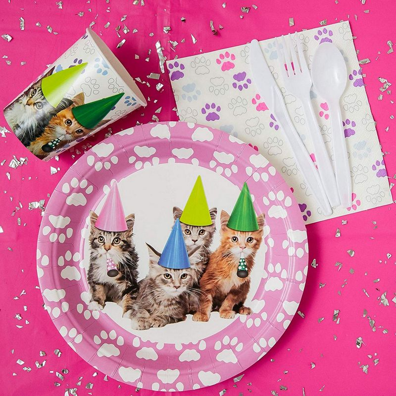 Juvale Kitten Party Supplies – Serves 24 – Includes Plates, Knives, Spoons, Forks, Cups and Napkins. Perfect Kitty Cat Birthday Party Pack for Kids Kitty Cat Themed Parties.