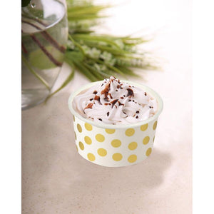 Gold Polka Dot Ice Cream Cups (8 oz, 100 Pack)