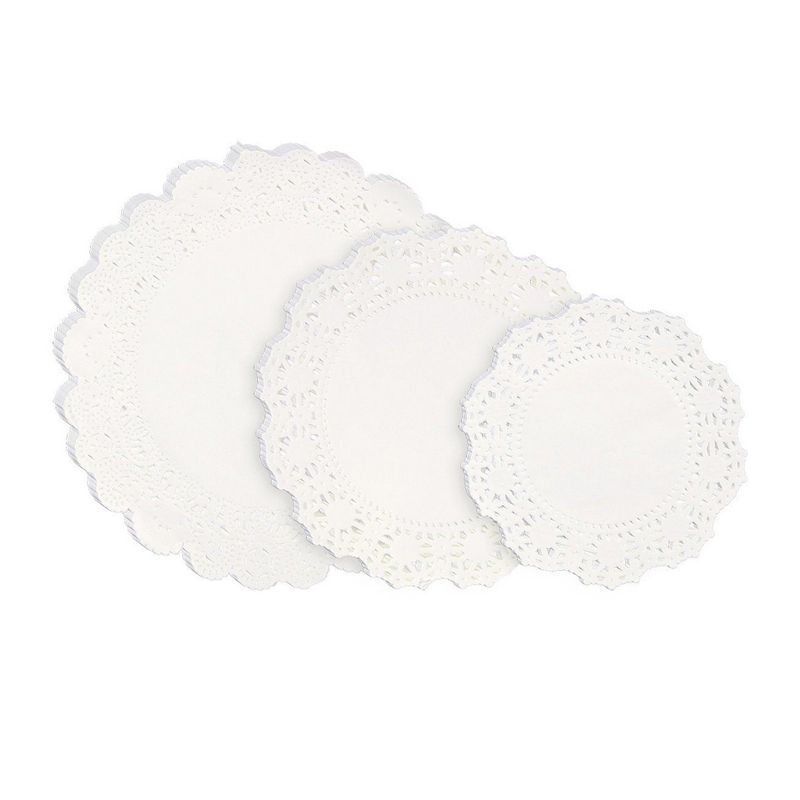 Lace Doilies Paper - 150-Piece Round Decorative Paper Placemats Bulk for Cake, Desert, Wedding, Tableware Decoration - 3 Assorted Sizes, 50 Pieces of Each Size, 6.5-Inch, 8.5-Inch, 10.5-Inch, White