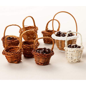 Mini Baskets- 24-Pack Miniature Woven Baskets with Handles, Mini Round Baskets, Small Country Baskets, for Parties, Gardens, Home Decoration, Brown, 1.75 x 1.75 x 2.7 Inches