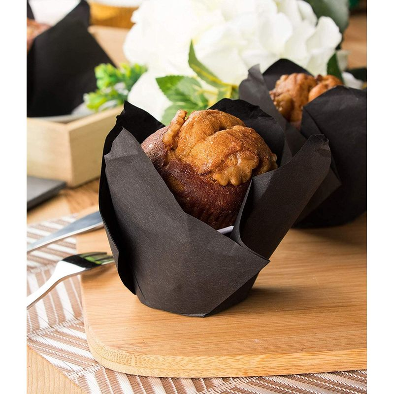 Tulip Cupcake Liners - 100-Pack Medium Baking Cups, Muffin Wrappers, Perfect for Birthday Parties, Weddings, Baby Showers, Bakeries, Catering, Restaurants, Black