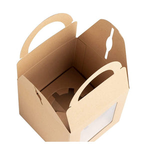 Kraft Paper Cupcake Boxes - 100-Pack Single Bakery Box Packaging with Clear Display Window, Insert, and Handle, Pastry Carrier Disposable Take-Out Container, Holds 1, Brown, 3.7 x 4.2 x 3.7 Inches