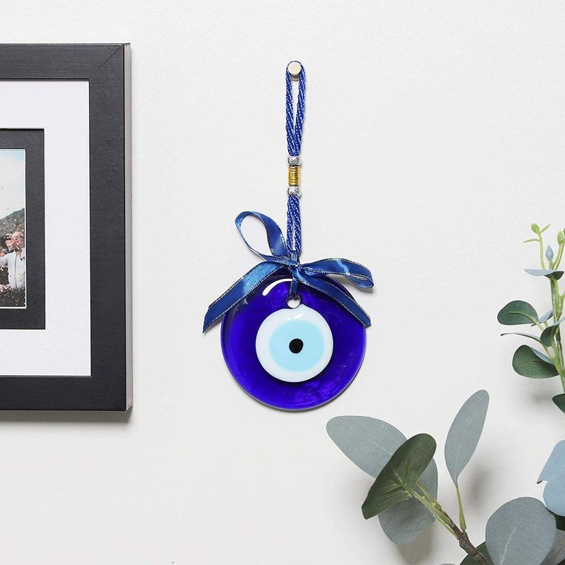 Juvale Evil Eye Glass Wall Hanging Home Decor 3 Inch Charm (4 Pack)