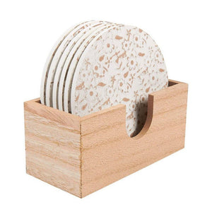 Juvale Wood Coasters - 6 Pack Round Wooden Coasters with Holder, White Floral Design, 3.8 Inches Diameter