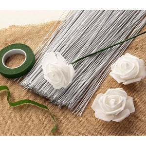 Juvale Floral Wire - 300 Piece Flower Wire, 18 Gauge Floral Stem Wire for Florist Flower Arrangement, Bouquet Stem Warpping and DIY Craft, White, 16 Inches