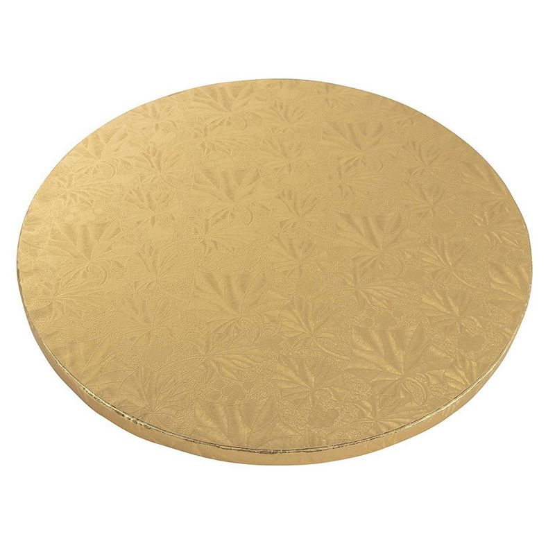 Cake Boards Rounds - 3 Piece Gold Foil Pizza Base Disposable Drum Circles, Corrugated Paper Board, 14 Inches in Diameter